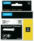 Banda ID1 polyester permanent 9 mm x 5.5 m negru-transparent Dymo