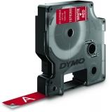 Banda etichete D1 Durable 12 mm x 3 m, alb/rosu Dymo