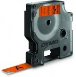 Banda etichete D1 durabil 12 mm x 3 m, negru/orange Dymo