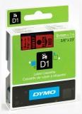 Banda D1 9 mm x 7 m negru-rosu Dymo