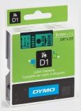 Banda D1 9 mm x 7 m negru-verde Dymo