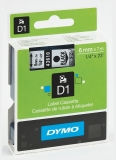 Banda D1 6 mm x 7 m negru-transparent Dymo