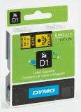 Banda D1 6 mm x 7 m negru-galben Dymo