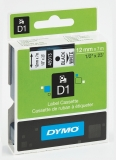 Banda D1 12 mm x 7 m negru-alb Dymo
