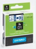 Banda D1 12 mm x 7 m albastru-alb Dymo