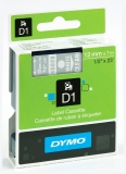 Banda D1 12 mm x 7 m alb-transparent Dymo