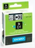 Banda D1 19 mm x 7 m negru-alb Dymo
