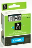 Banda D1 24 mm x 7 m negru-alb Dymo