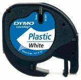 Banda Letratag plastic 12mm x 4m alb Dymo