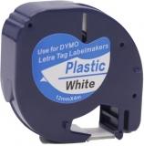 Banda compatibila LetraTag plastic, alba, 12 mm x 4 m Dymo