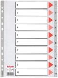 Index din plastic, A4, index 1-10, Esselte