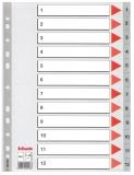 Index din plastic, A4, index 1-12, Esselte