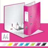 Biblioraft 180° WOW, carton laminat, A4, 80 mm, Leitz roz metalizat