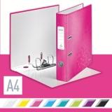 Biblioraft 180° WOW, carton laminat, A4, 52 mm, Leitz roz metalizat