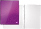Dosar carton color, cu sina, WOW, 250 coli, Leitz mov metalizat