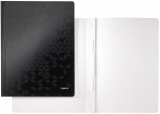 Dosar carton WOW cu sina, 250 coli, Leitz negru metalizat