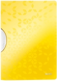Dosar plastic A4 cu clip 30 coli PP ColorClip WOW Leitz galben metalizat