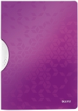 Dosar plastic A4 cu clip 30 coli PP ColorClip WOW Leitz mov metalizat