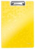 Clipboard cu coperta, WOW, PP, A4, 80 coli, Leitz galben metalizat
