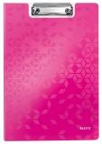 Clipboard cu coperta, WOW, PP, A4, 80 coli, Leitz roz metalizat