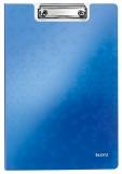 Clipboard cu coperta, WOW, PP, A4, 80 coli, Leitz albastru metalizat