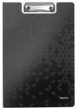 Clipboard cu coperta, WOW, PP, A4, 80 coli, Leitz negru metalizat