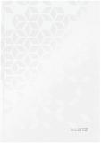 Caiet de birou WOW, A5, coperta dura, 80 coli, dictando, Leitz alb metalizat