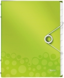 Mapa A4 cu 12 separatoare PP WOW Leitz verde metalizat