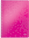 Caiet de birou WOW, PP, A4, cu spira, 80 coli, dictando, Leitz roz metalizat