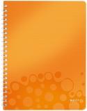 Caiet de birou WOW, PP, A4, cu spira, 80 coli, matematica, portocaliu metalizat, Leitz