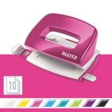 Perforator WOW 5060 mini NeXXt Series, 10 coli, roz metalizat, Leitz