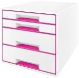 Cabinet cu 4 sertare WOW Leitz alb/roz