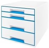 Cabinet cu 4 sertare WOW Leitz alb/albastru