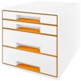 Suport cu 4 sertare WOW Leitz portocaliu metalizat
