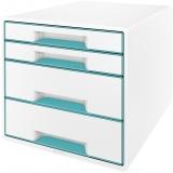 Cabinet cu 4 sertare WOW Leitz alb/turcoaz