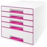 Cabinet cu 5 sertare WOW Leitz alb/roz