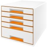 Cabinet cu 5 sertare WOW Leitz portocaliu metalizat