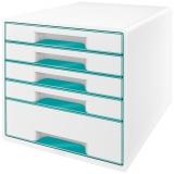 Cabinet cu 5 sertare WOW Leitz alb/turcoaz