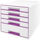 Cabinet cu 5 sertare WOW Leitz alb/mov