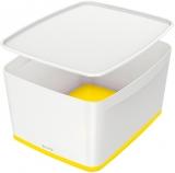 Cutie pentru depozitare MyBox mare cu capac Leitz alb/galben