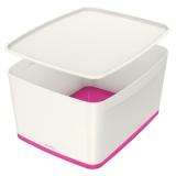 Cutie pentru depozitare MyBox mare cu capac Leitz alb/roz