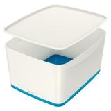 Cutie pentru depozitare MyBox mare cu capac Leitz alb/albastru
