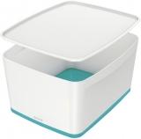 Cutie pentru depozitare MyBox mare cu capac Leitz alb/turcoaz