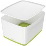 Cutie pentru depozitare MyBox mare cu capac Leitz alb/verde