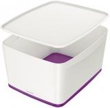 Cutie pentru depozitare MyBox mare cu capac Leitz alb/mov