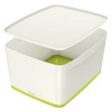 Cutie pentru depozitare MyBox Mare cu capac Leitz verde metalizat