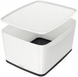 Cutie pentru depozitare MyBox mare cu capac Leitz alb/negru
