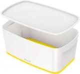 Cutie pentru depozitare MyBox mica cu capac Leitz alb/galben