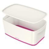 Cutie pentru depozitare MyBox mica cu capac Leitz alb/roz