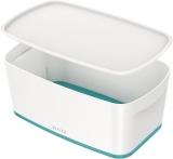 Cutie pentru depozitare MyBox mica cu capac Leitz alb/turcoaz
